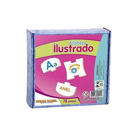 Alfabeto Ilustrado em Madeira - 78 peças