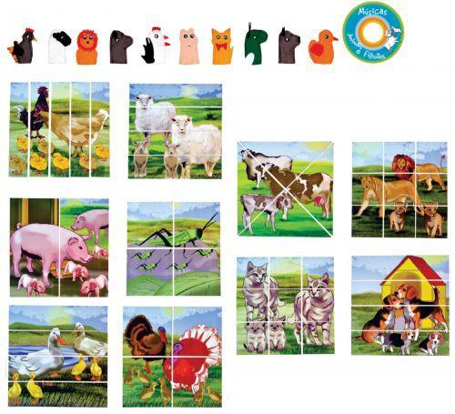 Quebra Cabeça de Animais e Filhotes em MDF - 21 peças
