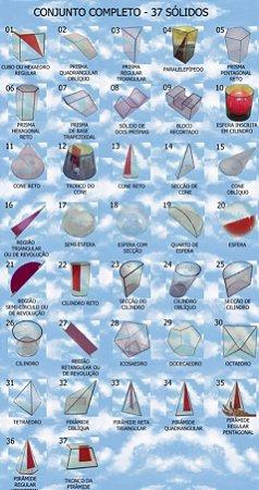 Conjunto de 37 sólidos geométricos em Acrílico