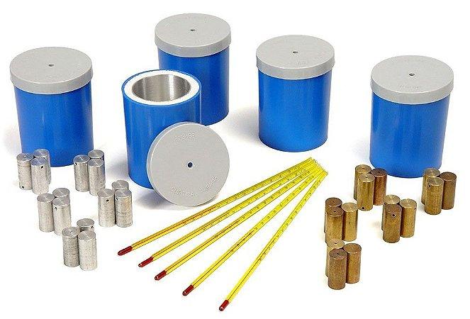 Kit de Física - Conjunto de Calorímetros com termômetros e Corpos de Prova