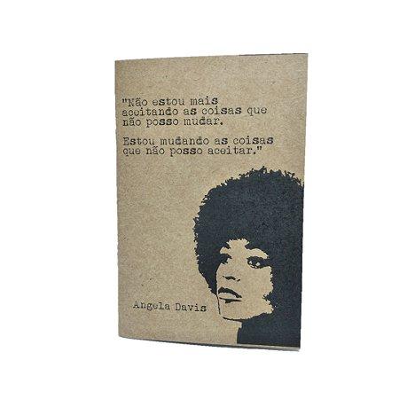 Caderno Artesanal Capa Kraft Angela Davis