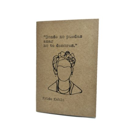 Caderno Artesanal Capa Kraft Frida Kahlo