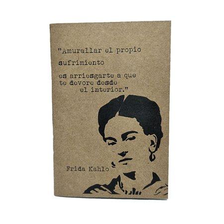 Caderno Artesanal Capa Kraft Frida Kahlo 2