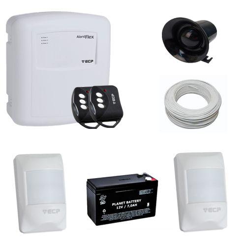 Kit Basic ECP Sistema de Alarme Com 2 Sensores de Presença Com Fio - Com Bateria