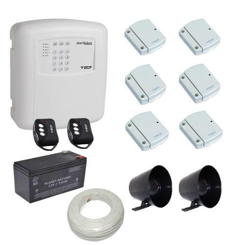 Kit Alarme Residencial / Comercial ECP 6 Sensores Abertura Sem Fio com Discadora Telefônica
