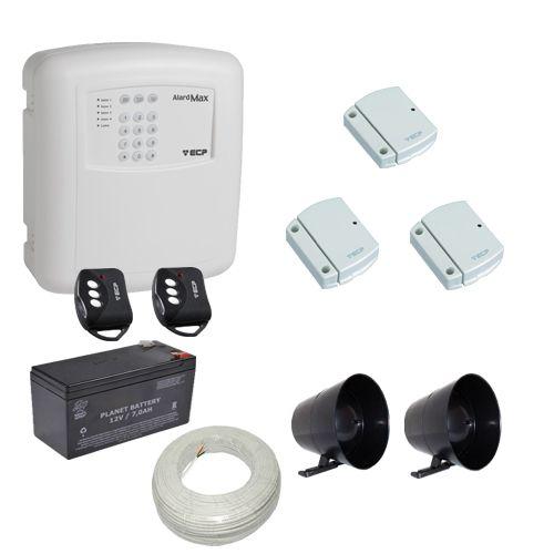 Kit Alarme Residencial / Comercial ECP 3 Sensores Abertura Sem Fio com Discadora Telefônica
