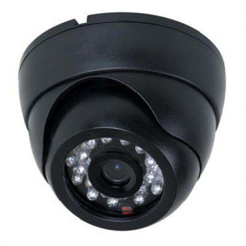 Câmera de Vigilância Formato Dome 24 Leds Infravermelho 20 Metros Analógica 1200 Linhas- Preta