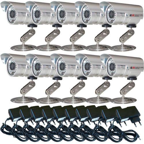 Kit 10 Câmeras de Vigilância Infravermelho 30 Metros 1.000 linhas + 10 Fontes