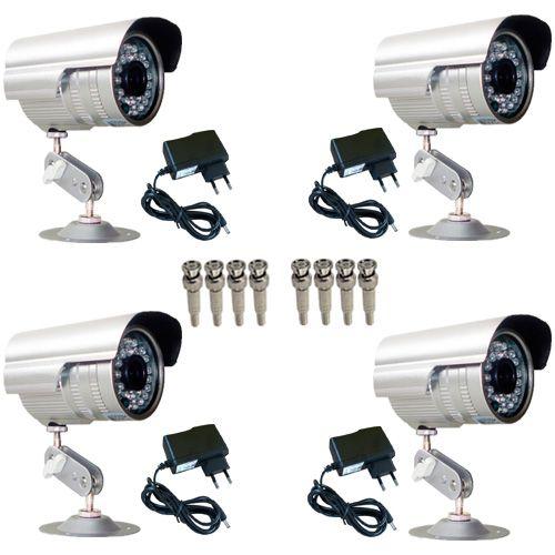 Kit 4 Câmeras de Vigilância 1000 Linhas Infravermelho 30 Metros + 4 Fontes + 08 Conectores