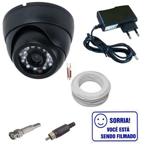 Kit Câmera Dome 1000 Linhas Com Infravermelho + Cabo + Fonte + Conectores + Brinde