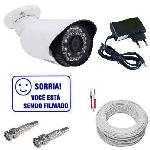Kit Câmera Monitoramento Infravermelho AHD 1.3 Mp + Acessórios Completo para Dvr Stand Alone