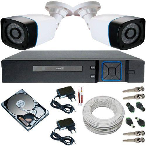 Kit Cftv 2 Câmeras 1.3 Megapixel 720p Infravermelho + DVR 4 Canais Acesso P2p