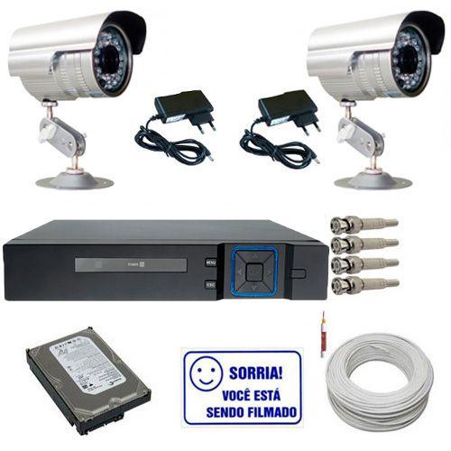 Kit 2 Câmeras de Monitoramento Infravermelho Dvr Multi HD 4 canais + HD 250GB