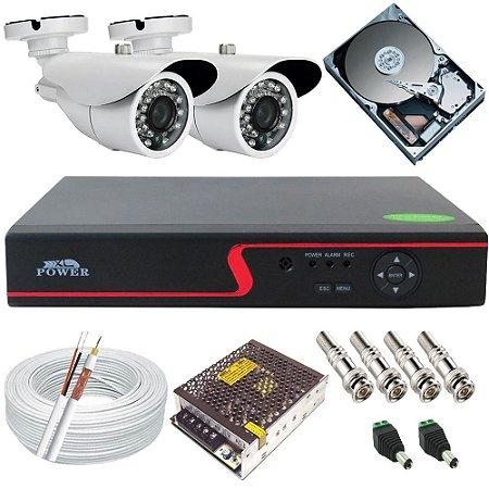 Kit Monitoramento 02 Câmeras Infravermelho 20 Metros 1.3 Megapixel com Gravador - Alta Resolução