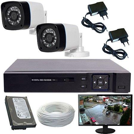 Kit Monitoramento Completo Monitor 02 Câmeras Gravador Dvr Acesso Internet