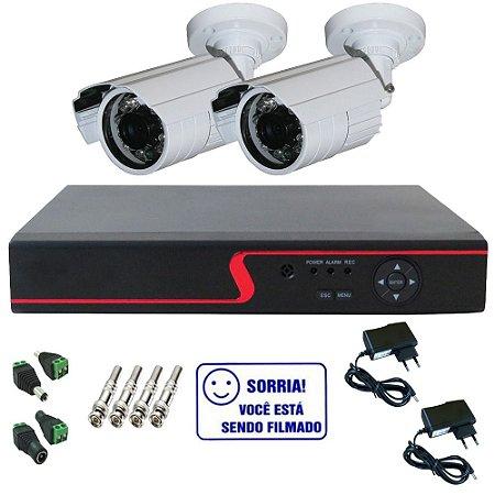 Kit Cftv Basic Dvr Stand Alone 4 canais Multi HD + 2 Câmeras Bullet Infravermelho