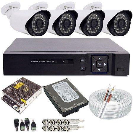 Kit 04 Câmeras de Segurança Infravermelho 1.3 Megapixel Gravador Dvr - Sistema Alta Definição