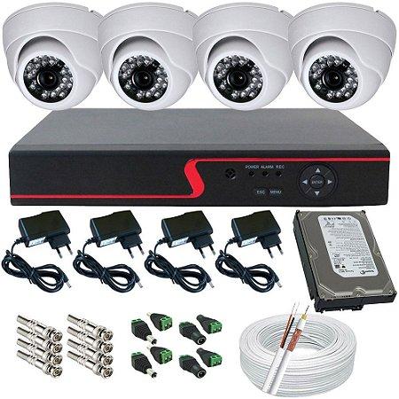 Kit 04 Câmeras Vigilância AHD Dome 1.0 Megapixel Infravermelho com Gravador- Alta Resolução