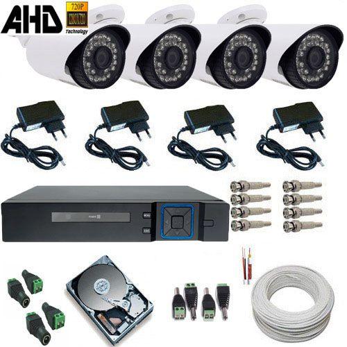 Kit 04 Câmeras AHD-M 1.3 Megapixels Gravador Dvr Acesso Nuvem P2P Completo