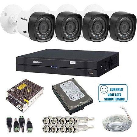 Kit 04 Câmeras de Segurança Multi HD 1010B Intelbras + Dvr 4 Canais 1004 + HD 500G + Acessórios - Alta Resolução