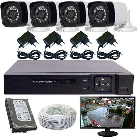 Kit Sistema de Vigilância Completo 04 Câmeras Gravador Dvr Stand Alone Monitor e Acessórios