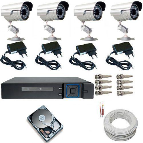 Kit Completo 04 Câmeras Segurança Dvr HD 250Gb Acesso Imagens Pela Internet PC e Celular
