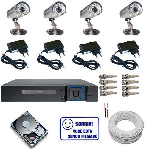 Kit Cftv 4 Câmeras de Vigilância Infravermelho até 30 Metros 1.000 Linhas com Gravador Dvr Stand Alone