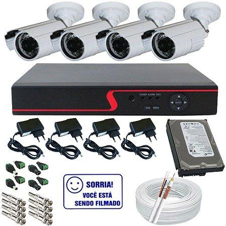 Kit Vigilância Completo 4 Câmeras Infravermelho AHD 1.3 Megapixel Dvr Stand Alone e Acessórios