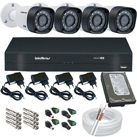 Kit de Monitoramento Intelbras 04 Câmeras Infravermelho 3120B 1 Megapixel DVR Acesso Remoto