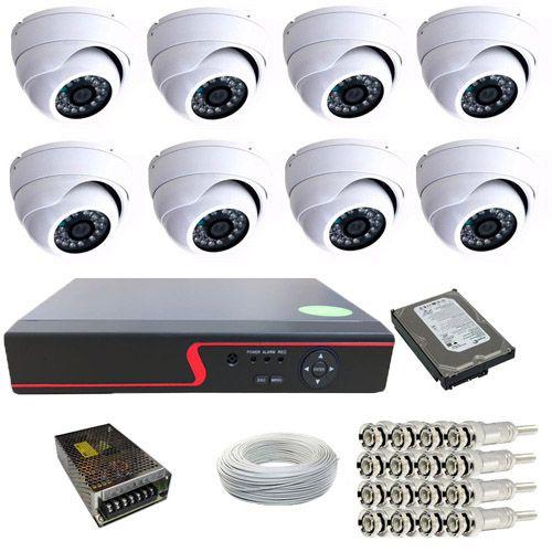 Kit 08 Câmeras Dome Infra 1000 Linhas Dvr 8 Canais HD 500 Gigas + Acessórios