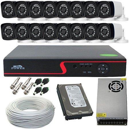 Kit 16 Câmeras Segurança AHD 1.3 Mp Infravermelho 30 Metros + Dvr Stand Alone Acesso via Celular
