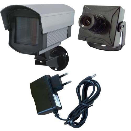 Kit Micro Câmera de Segurança CCD 420 linhas, Caixa de Proteção e Fonte de Alimentação