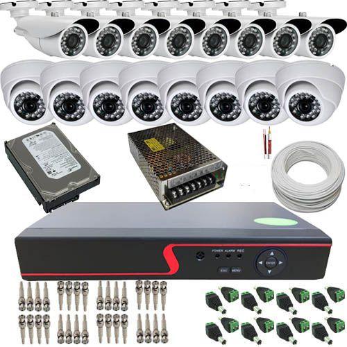 Kit 16 Câmeras Infravermelho AHD 720p Alta Resolução + DVR Stand Alone com Acesso a Internet.