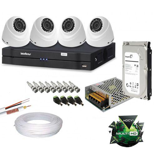 kit cftv 4 Câmeras Dome Intelbras 1010D 12 led infravermelho resolução em hd Dvr Stand Alone 8 Canais