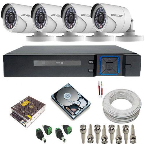 Kit Monitoramento com 4 Câmeras Full hd 2.0 Megapixel 12 Leds infravermelho DVR Stand Alone 4 canais