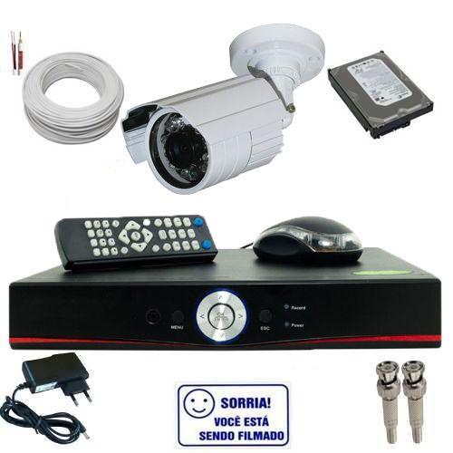 Kit de Vigilância com 1 Câmera Infravermelho Analógica 1000 Linhas de Resolução DVR Stand Alone