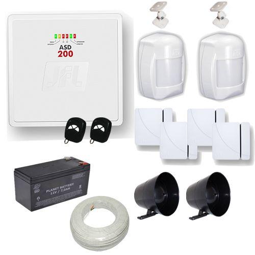 Sistema de Alarme com 1 Central ASD 200 JFL + 2 Sensores de Presença 4 Sensores Magnéticos