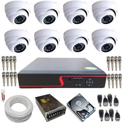 Kit CFTV com 8 Câmeras Dome Blindada AHD 1.3 Megapixel DVR Stand Alone com acesso via internet