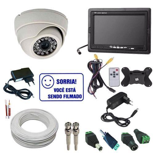Sistema de Segurança com 1 Câmera Analógica 1000 Linhas Infravermelho - Monitor LCD