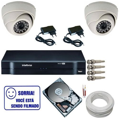 Kit 2 Câmeras de Segurança Dome Infra 1000 Linhas DVR Intelbras 4 canais
