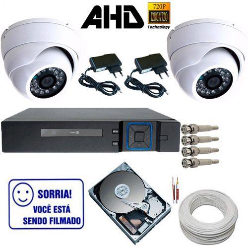 kit 2 Câmeras Dome de Metal AHD 1.3 Megapixel 24 Leds Infravermelho + DVR 4 canais