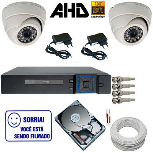 Kit Segurança com 2 câmeras Dome Infravermelho AHD 1.0 Mp + DVR Multi HD