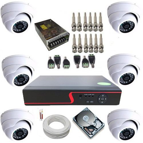 Kit Monitoramento com 6 Câmeras Dome Blindada AHD 1.3 MP Gravador DVR 8 canais