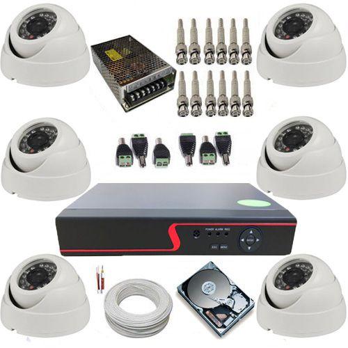 Kit Vigilância com 6 Câmeras Dome 24 Leds Infravermelho AHD 1.0 Mp + DVR 8 canais