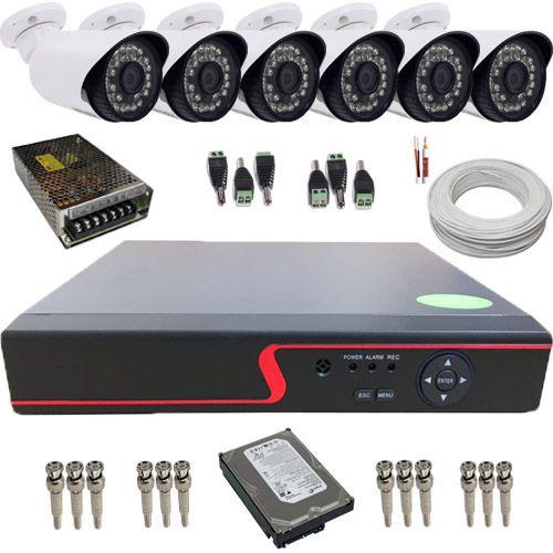 Sistema de Monitoramento 6 Câmeras Infravermelho AHD 1.3 Mp DVR Multi HD 8 canais