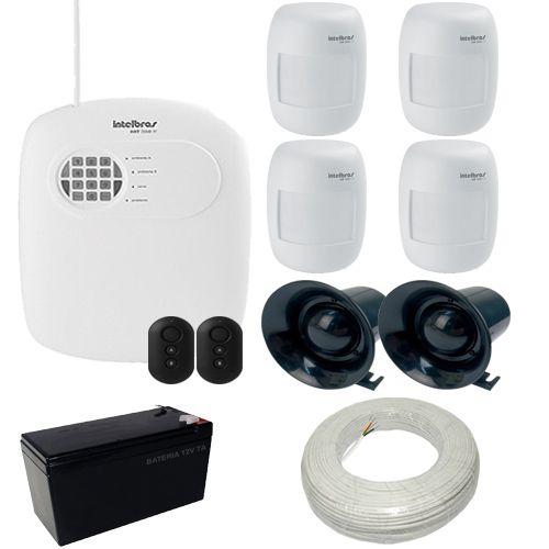 Kit Alarme Intelbras 1 Central AMT 2008 RF com Discadora + 4 sensores Infravermelho