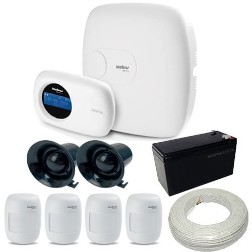 Kit Intelbras 1 Central de Alarme AMT 2010 + 4 Sensores de Presença IVP 3000