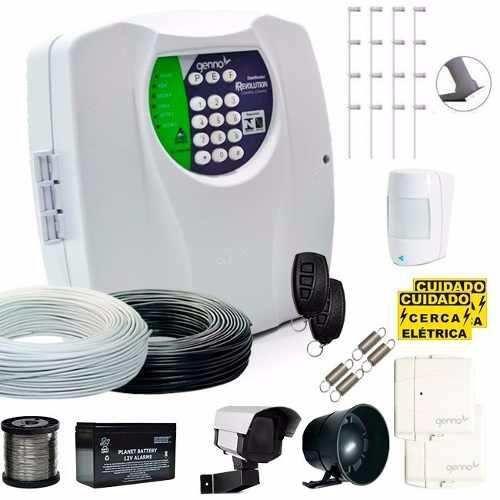 Kit Genno Cerca Elétrica Central de Choque e Alarme com Discadora Para Terrenos 10x20
