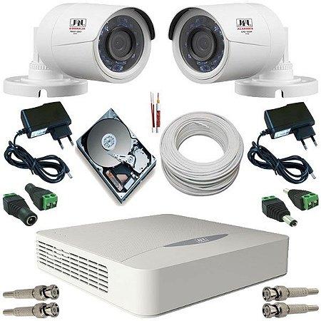 Kit CFTV 2 Câmeras JFL 4 em 1 Infravermelho AHD 1.0 Megapixel DVR JFL Híbrido