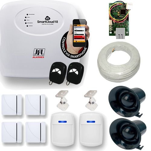 Kit De Alarme JFL 1 Central Smart Cloud Com Acesso Via Celular + 6 Sensores